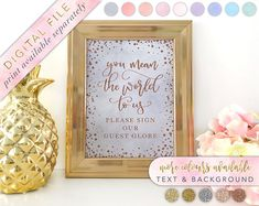Globe Guestbook Globe Guestbook Sign Printable Please Sign Our Guest Globe Sign Guestbook Ideas Globe Guestbook Sign Blush and Gold by LoveLetteredByBekki