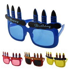 Adult Happy Birthday Candles Sunglasses Novelty Funny Costume Party Favors UV400