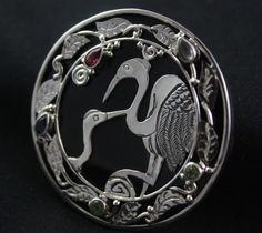 Sajen Crane Gemstone Pendant/Pin Sterling Silver Peridot Iolite Pink Topaz