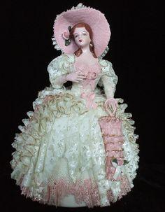 Beautiful Lg Antique Dresden Lace Porcelain Victorian Lady Figurine Figure Doll
