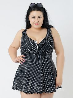 Black And White Dot Conservatism Floral Printed Halter Two-Piece Plus Size Swimsuit With A Little Skirt Lidyy1605241059