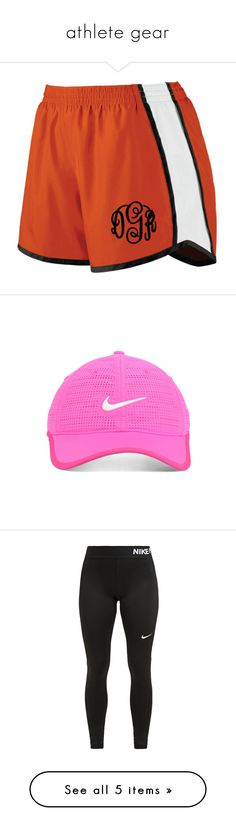 """""""athlete gear"""" by mysquadtoowavy ❤ liked on Polyvore featuring activewear, activewear shorts, grey, women's clothing, embroidered sportswear, accessories, hats, headwear, cap hats and nike golf hats"""