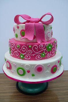 Funky Pink Green Big Bow Wedding Cake | Flickr - Photo Sharing!