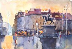 TRg bana Jelačića,54x37,akvarel