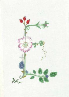 Alphabet Botanique E Embroidery  Keka❤❤❤