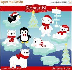 ON SALE Christmas clip art Polar bear clip by Decorartistclipart