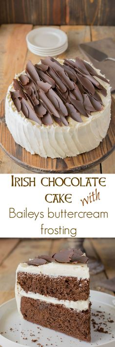 Irish Chocolate Cake with Baileys Buttercream Frosting. Both decadent and addictive with layers of moist chocolate cake adorned with Baileys buttercream frosting. Frosting Recipes, Buttercream Frosting, Cake Recipes, Dessert Recipes, Icing, Milk Recipes, Breakfast Recipes, Irish Recipes, Sweet Recipes