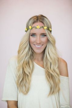 Flower Crown, Wedding Headband, Music Festival Bohemian Hair Band in Yellow Bride's Hair for Wedding Headband Stretchy Crown (HB-18)