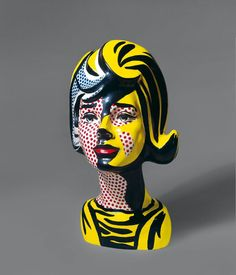 Roy Lichtenstein as Sculptor! Did you know he did not just design but sculpt in early 1960s? wood + ceramic •on view: Head With Red Shadow, 1965 • see Lichtenstein's sketches/sculptures/behind-scenes in Rizzoli book ed. by Germano Celant, publ. Skira 2013-11-05, 296p • see his works at Fondazione Vedova, Venice exhibition (Biennale Arte 2013)