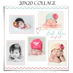 NEWBORN Collage - BELA BABY - (1) 20x20 Photoshop Collage Template for Photographers & Scrap Bookers.