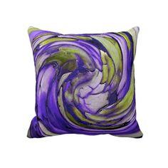 Purple N Lime Abstract Art Throw Pillow #amethyst #peridot #swirl