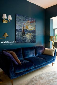 Dark Living Rooms, Living Room Interior, Home Living Room, Home Interior Design, Living Room Decor, Living Room Color Schemes, Living Room Designs, Blue Rooms, Room Colors