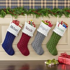 Cable knit christmas stockings