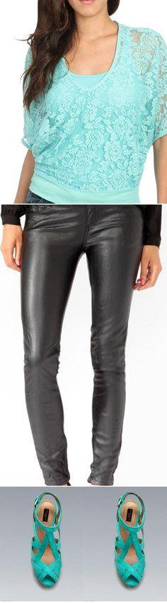 Wet Seal: Lace Dolman Top, Forever21: Zippered Skinny Pants, Zara: PLATFORM HEEL SANDAL