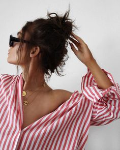 stripes and gold necklaces