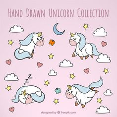 Cute hand drawn unicorns in different situations Free Vector