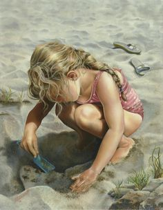 Brenda Hoddinott, artist ~ little girl playing in sand on beach ~ summer