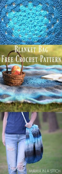 Mandala Crocheted Blanket Bag Pattern via @MamaInAStitch This is an easy, free pattern for a crocheted blanket that turns into a bag! So unique and fun to make. #freepattern #mamainastitch #crochet  #summer #picnic