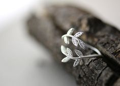 Leaf Branch Ring Adjustable Twig Ring Matt Gold by authfashion, $9.20