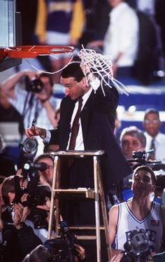 MIKE KRZYZEWSKI, HEAD COACH OF DUKE BASKETBALL, CUTS DOWN THE NET AFTER WINNING THE NCAA NATIONAL CHAMPIONSHIP.   DUKE BEAT KANSAS 72-65 AT THE HOOSIER DOME, INDIANAPOLIS, INDIANA.