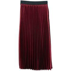 MANGO Metallic pleated skirt (4.020 RUB) ❤ liked on Polyvore featuring skirts, maroon, maroon pleated skirt, elastic waist skirt, panel skirt, red skirt and metallic skirt