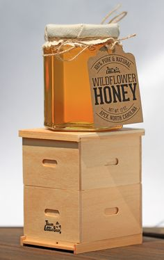 Mini beehive with glass hex honey jar