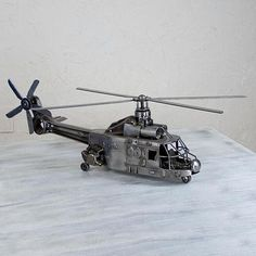 Collectible Recycled Auto Parts Metal Sculpture - Rustic Puma Helicopter | NOVICA