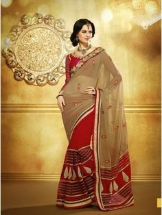 Vachya Red And Brown Georgette Embroidered sarees 9405. Saree is beautifully accentuated with shimmer embroidered paisley motifs on self Georgette floral and leafy patterned base on red skirt part and brown pallu.Saree Store Online, With Free Shipping in All Over India. Cotton Silk Saree, Printed Saree, embroidery designer Saree, Party Wear Saree, and now this time is new wedding lehenga style saree Collection 2014 with low and very cheap price + free