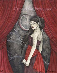 jessica galbreth | Jessica Galbreth Print Gothic Fairy Faery Witch Wicca Goth Blue Moon ...