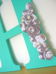 Letter Wreath in Aqua Blue with Fabric by TheHandsomeCottage, $18.00
