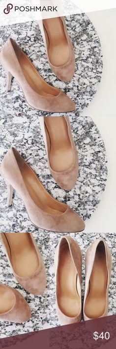 """J. Crew Factory Taupe Suede Paulina Pumps Used condition. Some stains to suede. 4"""" heel. Bundle to save. J.Crew Factory Shoes Heels"""