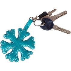 Blue snowflake accessories turquoise keychain gift leather purse... ($20) ❤ liked on Polyvore featuring accessories, keychain key ring, leather key chain, key chain rings, fob key chain and leather key ring