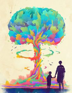 Watercolor-style mushroom cloud stylized to look like a tree-- integrate color?