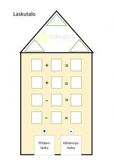 Laskutalo, yhteen- ja vähennyslasku   tukiope.fi - Yksityisopetusta koululaiselle Floor Plans, Diagram, Floor Plan Drawing, House Floor Plans