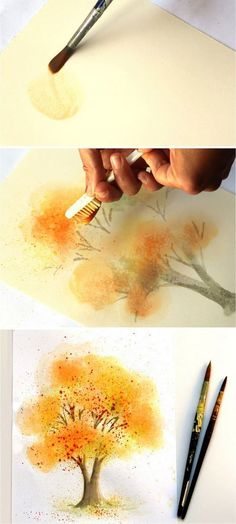 How to paint a beautiful watercolor tree easily. Learn some fun & unusual techniques in this step by step tutorial. No art experience needed! - A Piece of Rainbow #PhotoshopTutorialsStepByStep #watercolorarts