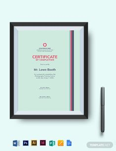 Certificate Of Completion Template, Certificate Format, Training Certificate, Printable Certificates, Gift Certificate Template, Certificate Design, School Certificate, List Template, Templates Printable Free
