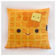 16 x 16 Decorative Pillow Waffle Pillow Breakfast Food Kawaii Stuffed Toy Home Decor Kids Room Decor Room Decor Food Pillows, Cute Pillows, Diy Pillows, Decorative Pillows, Throw Pillows, Cushions, Kawaii Room, Kawaii Cute, Kawaii Plush
