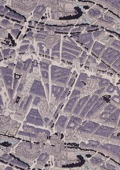 Map of Paris fabric. Ralph Barton/Stehli Silks Corporation. Crêpe de Chine. USA, 1927 (V: T.87I-1930). From V's Novelty Patterns book, via Dwell.