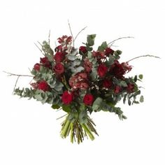 Red Rose and Orchid Bouquet - Red Naomi roses, Red Cymbidium, Red Amarylis and Eucalyptus
