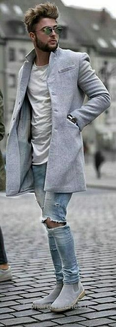 Men's Style | fashion, casual, easy outfit, trench, jeans, booties, distressed look