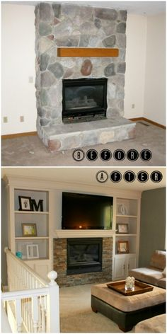 Fireplace Makeover with Built-in Shelves   construction2style on Remodelaholic.com