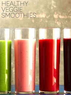 Healthy Veggie Smoothies. Each of these smoothie recipes includes a delicious mix of vegetables and fruit to add sweetness, so even the vegetable-averse will have no problem eating their veggies.