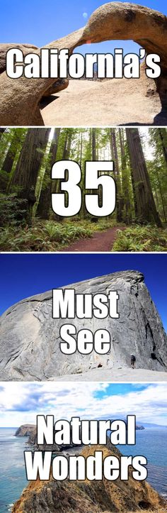 California's 35 must see natural wonders. This list covers everything from arch rocks and Sequoias to beaches and waterfalls. If you want to explore California this is a good place to start. Oh The Places You'll Go, Places To Travel, Travel Destinations, Places To Visit, Camping Places, San Diego, San Francisco, Palm Springs, Pacific Coast Highway