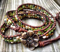 Earthy green leather wrap bracelet natural boho by DESIGNbyANCE