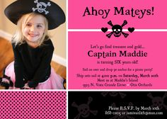 Custom Pirate Princess (Any Color) Birthday Party Invitations on Etsy from top rated seller! *I can make these*