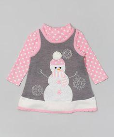 Love this Pink & Gray Snowman Layered Dress - Infant, Toddler & Girls by Gerson & Gerson on #zulily! #zulilyfinds