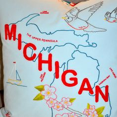MICHIGAN Hand Embroidery Pattern / IRON-ON Transfer / State Pillow / Stitch & Color Guides