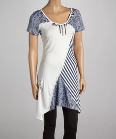 Another great find on #zulily! Denim & White Stripe Sidetail Dress by LV Collection #zulilyfinds