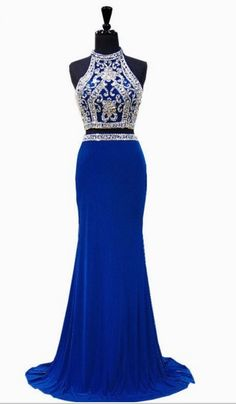 d9d9bb5a3ac5 The PROM dress is gorgeous mermaid high neck bead crystal floor-length  royal blue Africa 2 ball gown