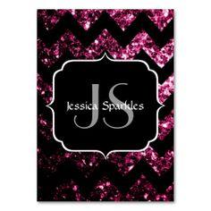 Beautiful Pink glitter sparkles Chevron Monogram Business Cards by #PLdesign #PinkSparkles #SparklesCard #zazzle